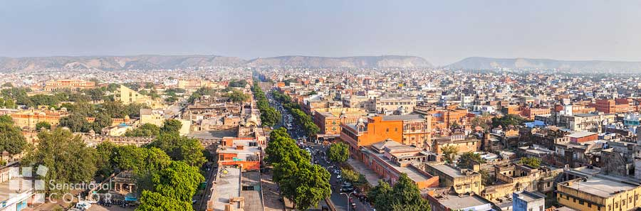 Panorama view of Jaipur the Pink City