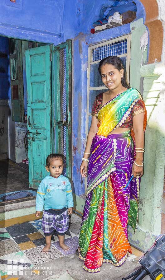 A family in Jodhpur Blue City poses proudly