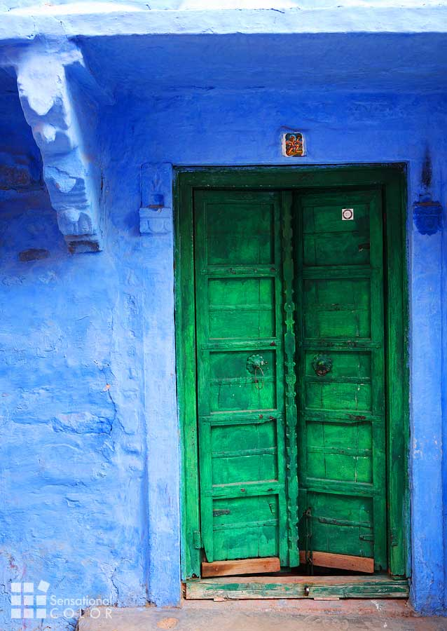 Jodhpur The Blue City Homes Are Bright Blue with colorful accents.