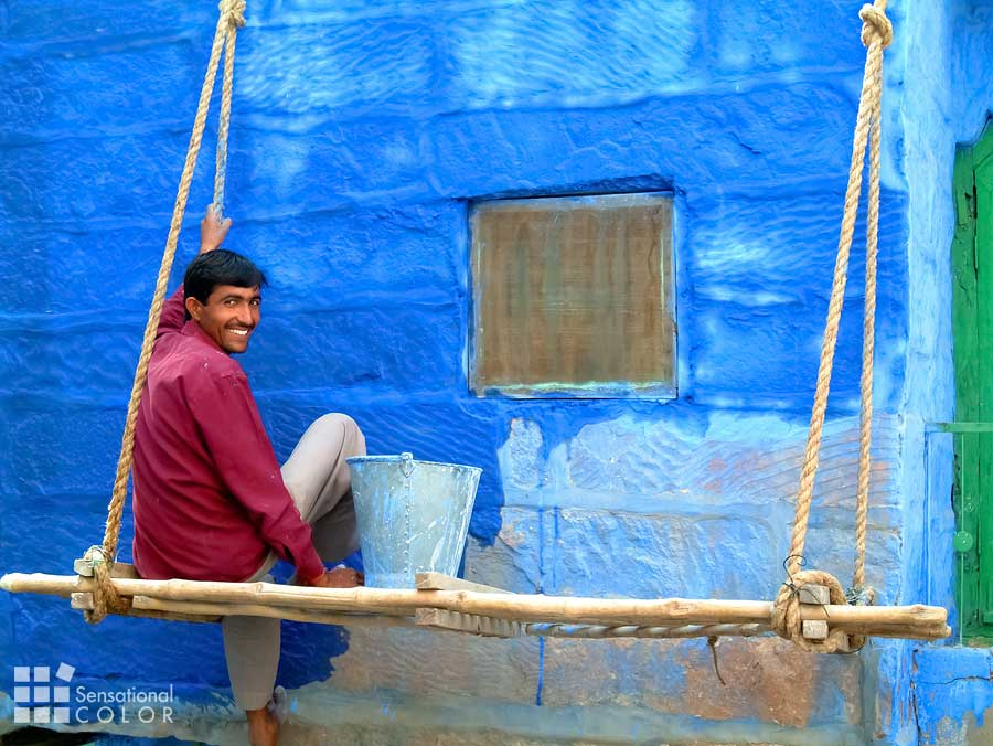 Man painting his home in the hue that makes people call  Jodhpur The Blue City