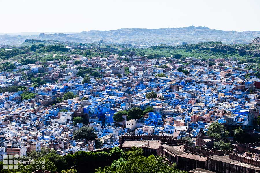 View of Jodhpur the Blue City from Mehrangarh Fort in Rajasthan India