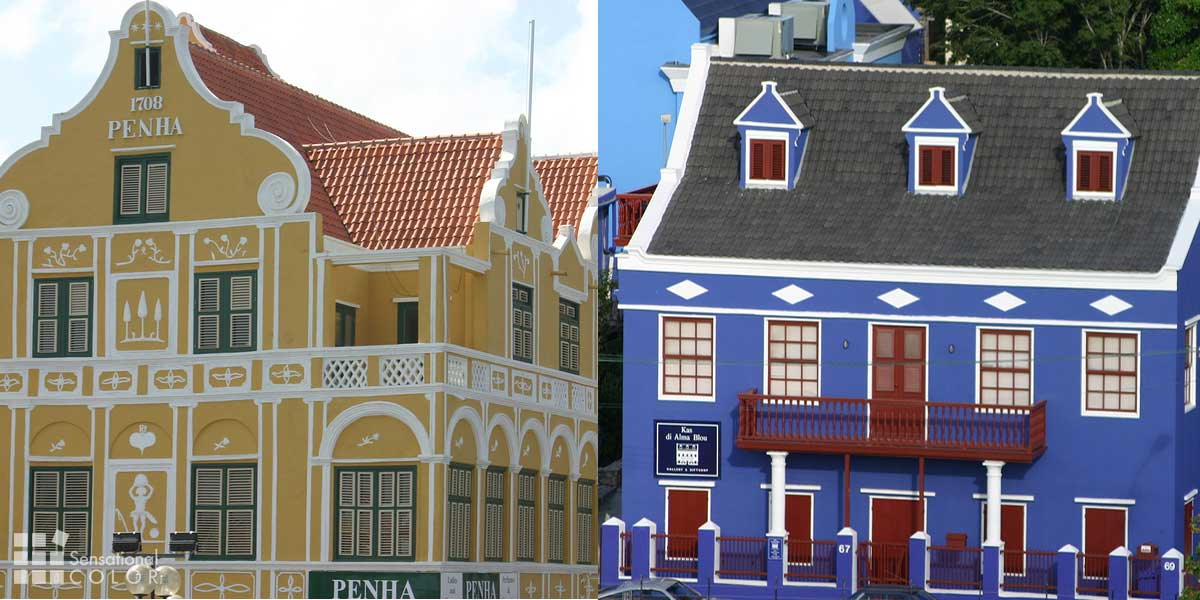 Curacao Colors Two Historic Buildings