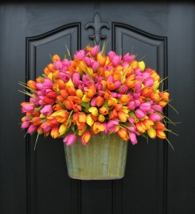 Color scheme pink yellow orange bucket tulips etsy mightylinksfo