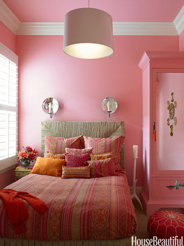 color scheme pink orange bedroom