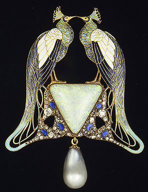 Birthstone for October: Opal - Art Deco Pin