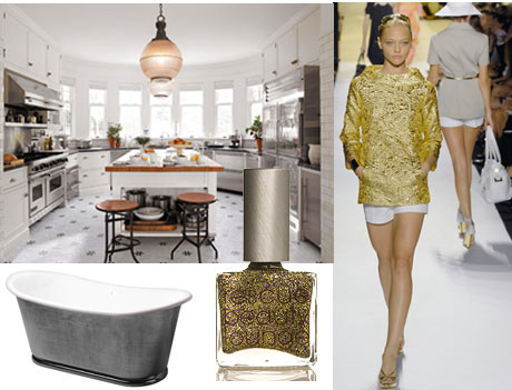 Metallics and metal finish for outdoor living spaces