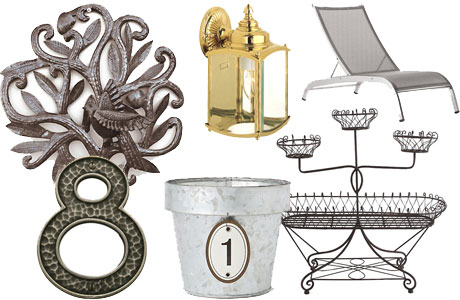 A collage of metal finish items for your outdoor living space