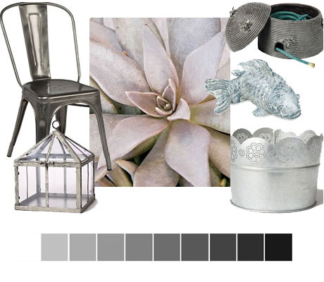A collage of silver, iron and many variations of cool metals for your outdoor living space