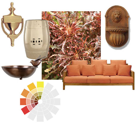 Bright gold and brass, copper and bronze, muted or patinated all work in outdoor living spaces.