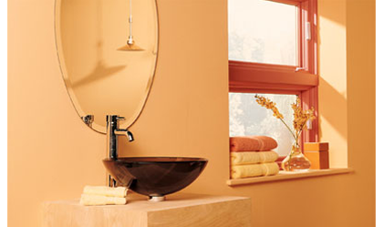 Bathroom painted with Valspar Paint Color: Peach Taffy