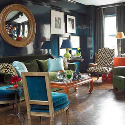 Traditional Living Room in Teal