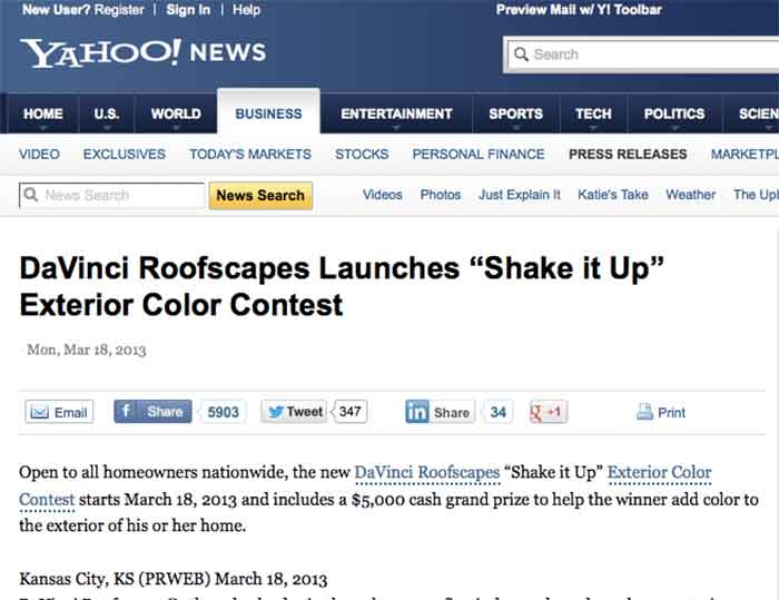 "DaVinci Roofscapes Launches ""Shake it Up"" Exterior Color Contest"