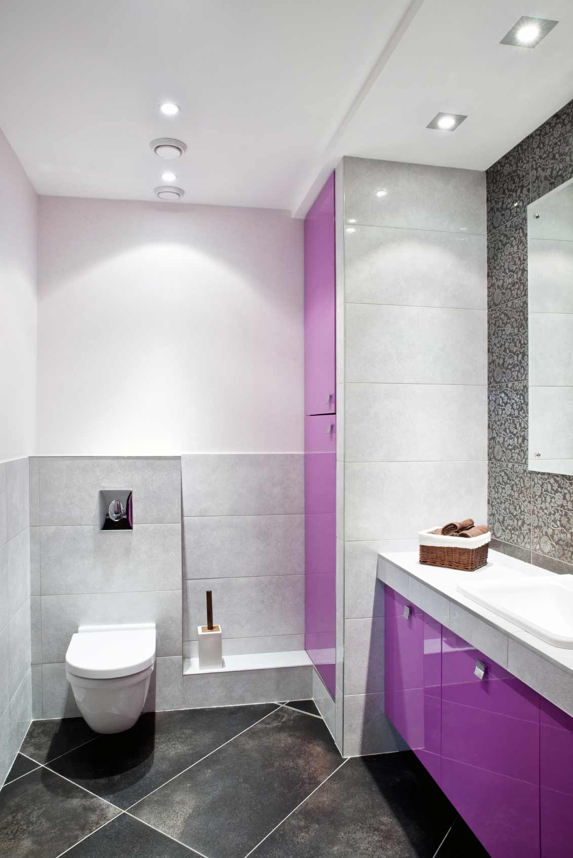 Black, white and fucshia bathroom