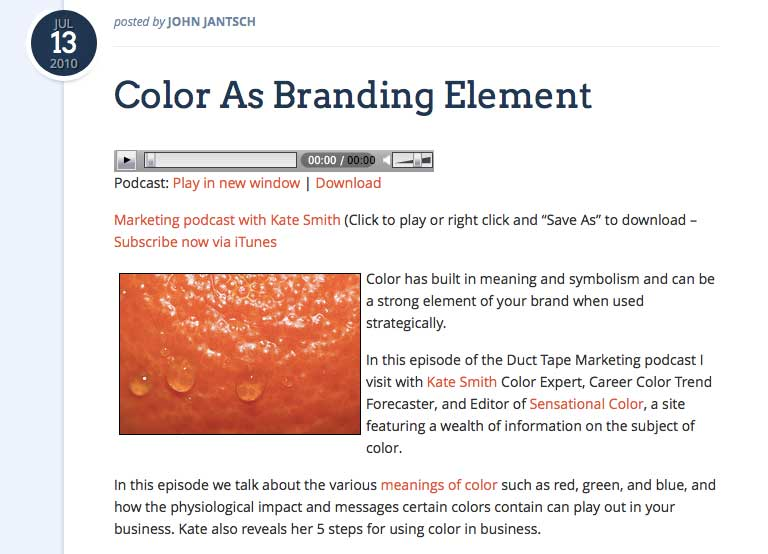 Kate Smith Color Expert Interview With John Jantsch of Duct Tape Marketing