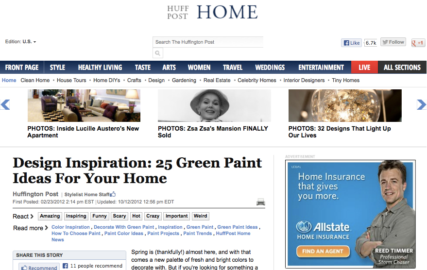 Huffington Post Home - Design Inspiration: 25 Green Paint Ideas For Your Home