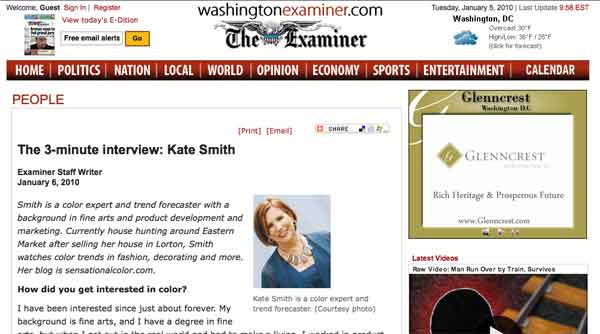 Kate Smith 3-Minute Interview In Washington Examiner