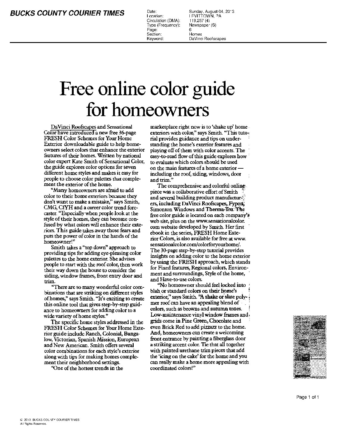Bucks County Courier Times: Free Online Color Guide