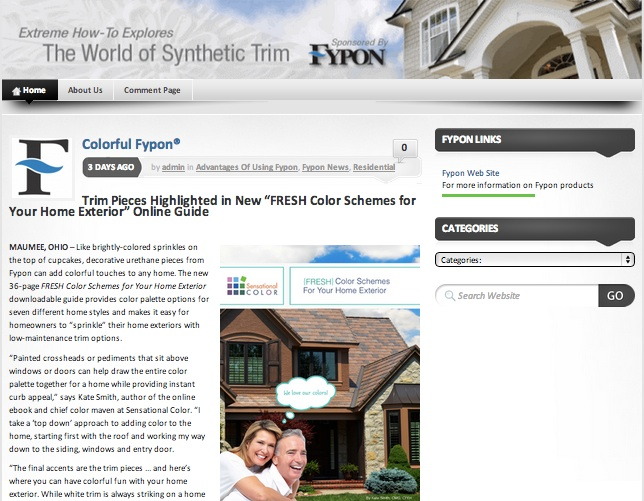 "Trim Pieces Highlighted in New ""FRESH Color Schemes for Your Home Exterior"" Online Guide"