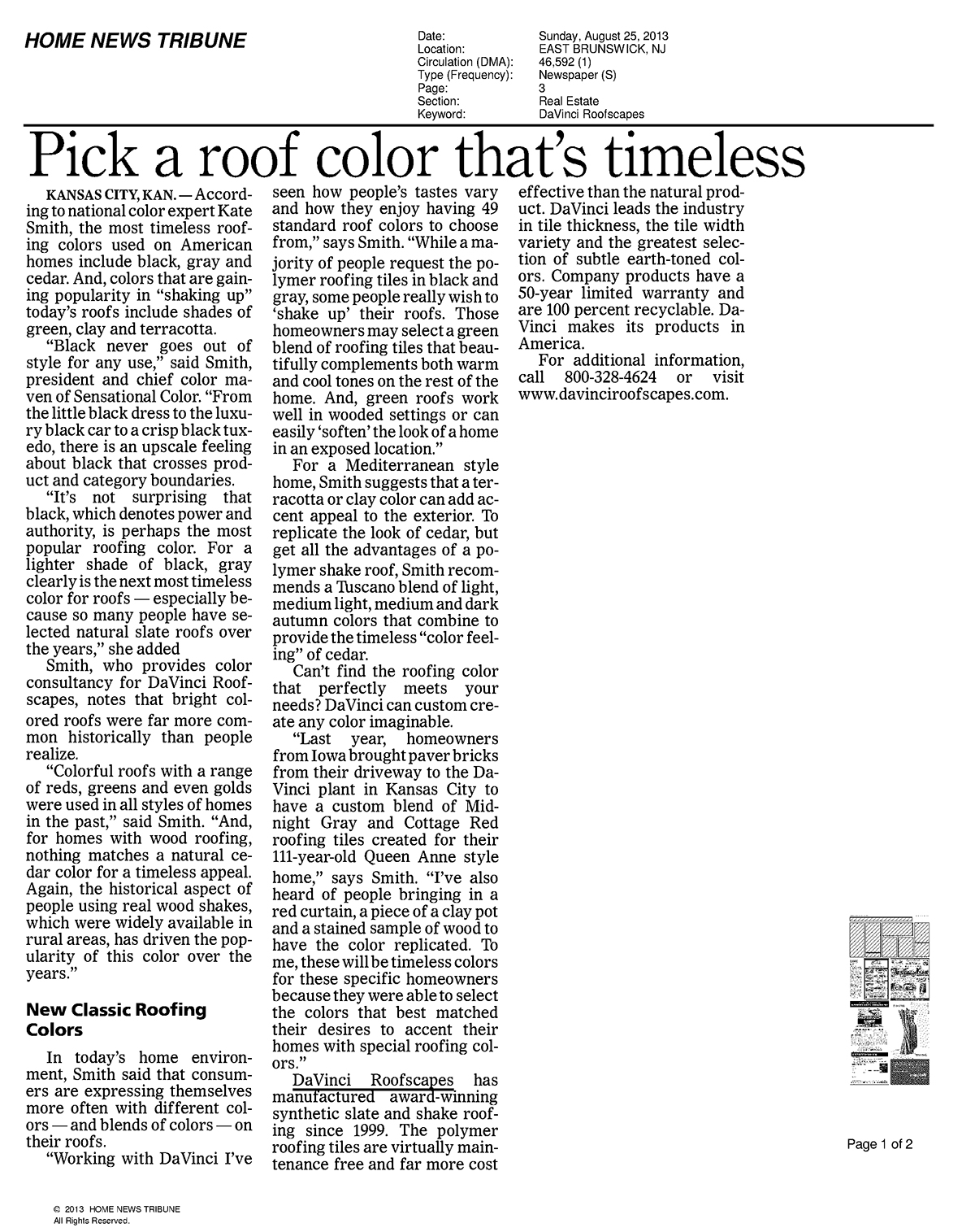 Home News Tribune: Pick a roof color that is timeless
