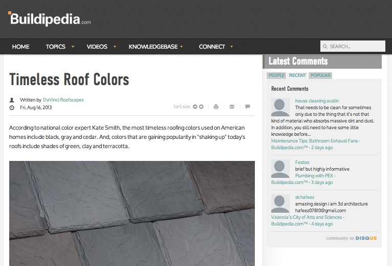 Buildipedia Timeless Roof Colors