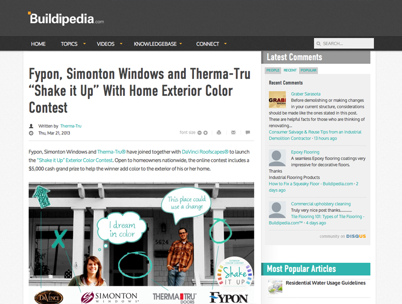 "Fypon Simonton Windows and Therma-Tru ""Shake it Up"" With Home Exterior Color Contest"