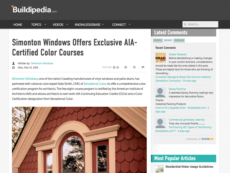 Simonton Windows Offers Exclusive AIA-Certified Color Courses