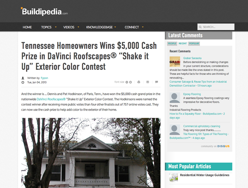 "Tennessee Homeowners Wins $5000 Cash Prize in DaVinci Roofscapes® ""Shake it Up"" Exterior Color Contest"