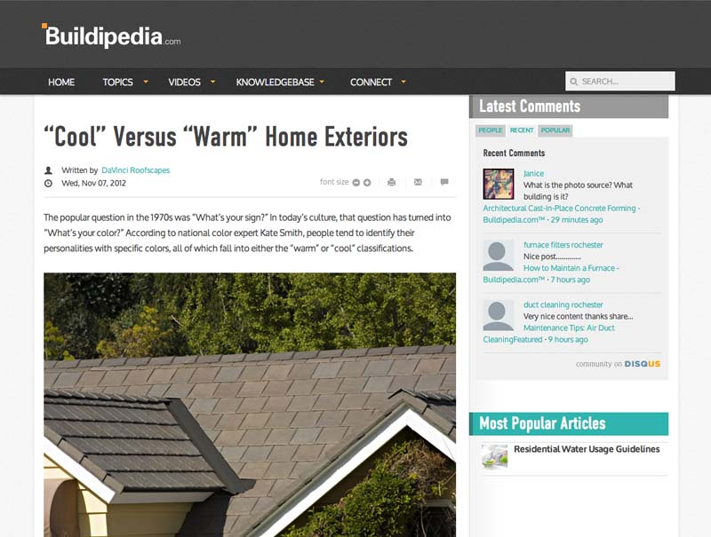 """Cool"" Versus ""Warm"" Home Exteriors"