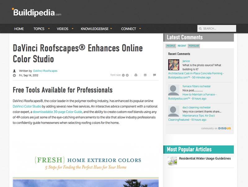 DaVinci Roofscapes® Enhances Online Color Studio