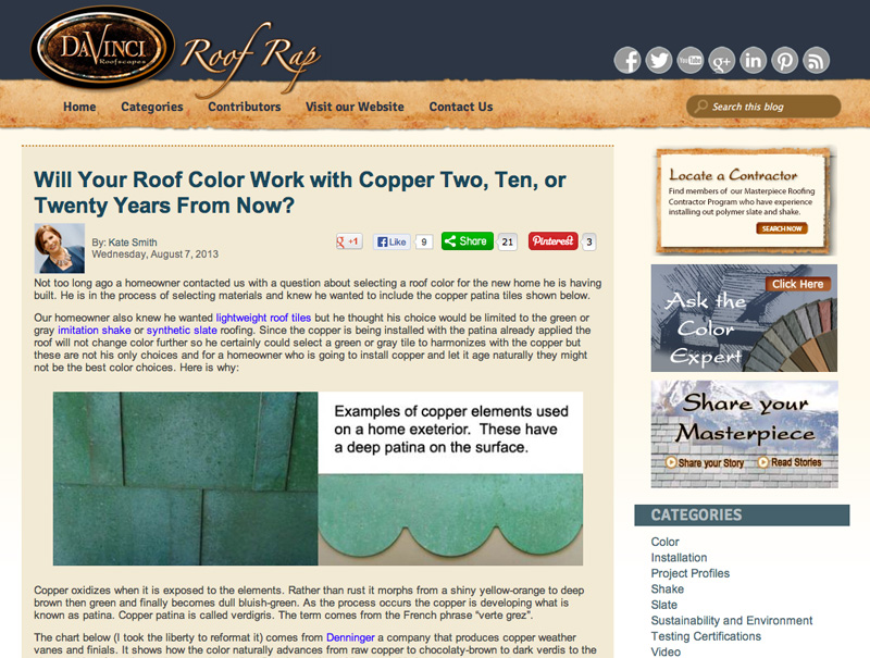 Will Your Roof Color Work with Copper Two Ten or Twenty Years from Now