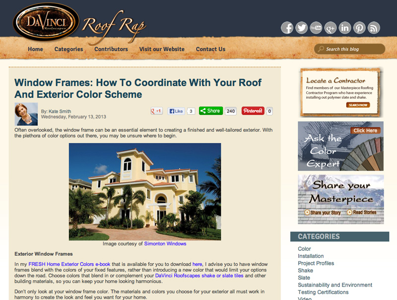 Window Frames- How to Coordinate with Your Roof and Exterior Color Scheme