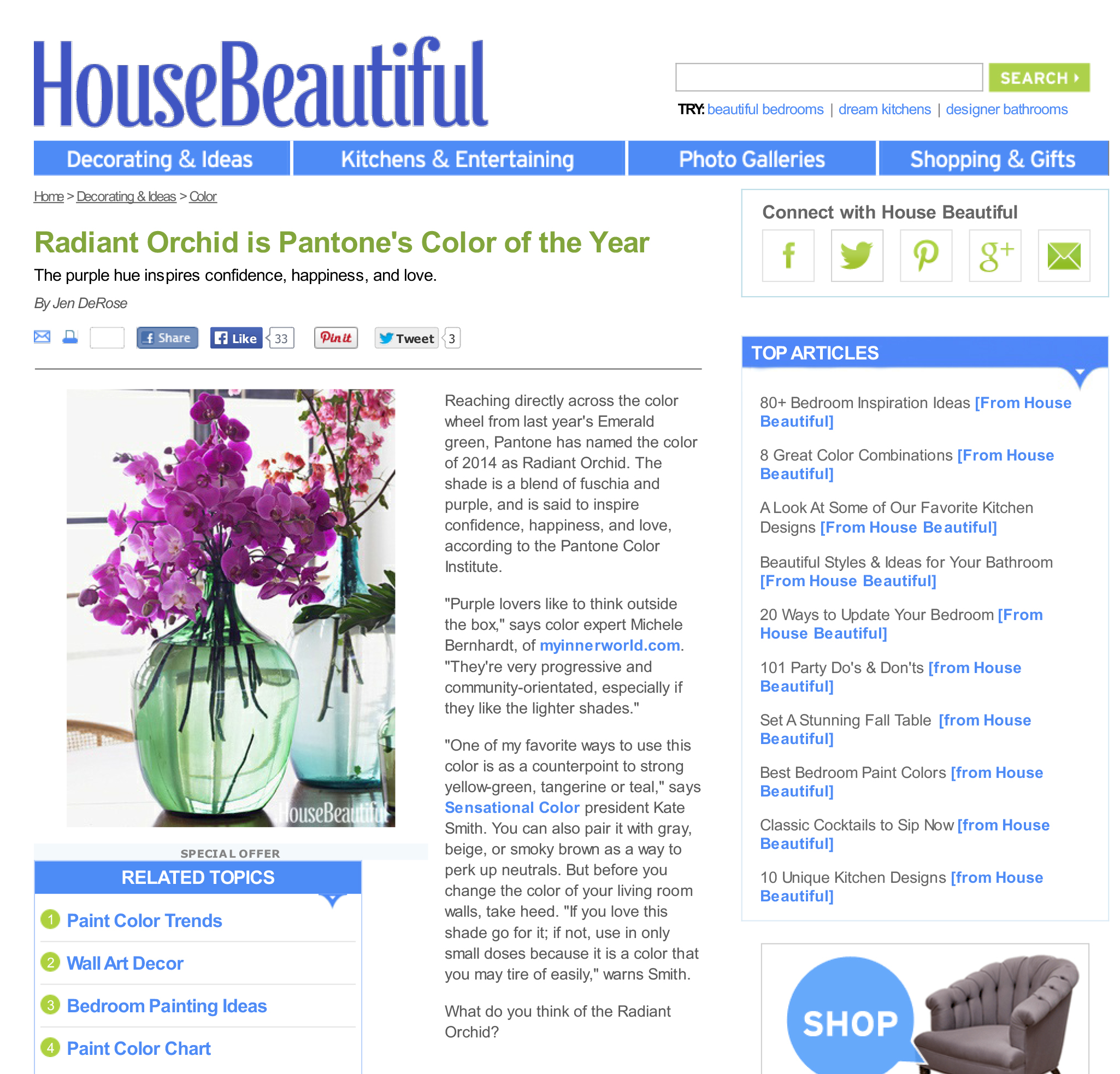 House Beautiful Quotes Kate Smith On Pantone Color Of The Year 2014 ...