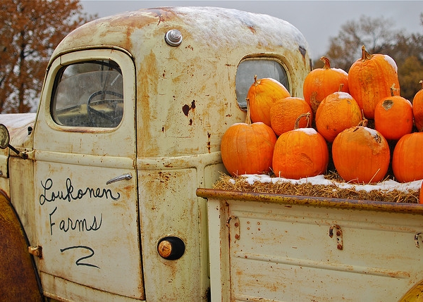 Truck With Pumpkin Orange
