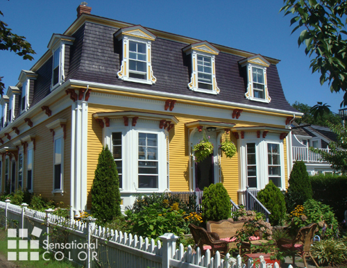 Exterior Color Scheme Stands Out on a Victorian in Provincetown, MA
