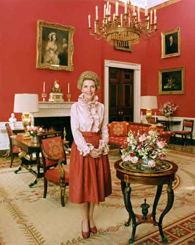 Nancy Reagan in Iconic Red Room In The White House