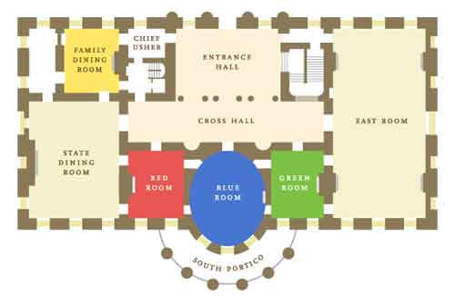 Iconic Red Room In The White House Floor Plan