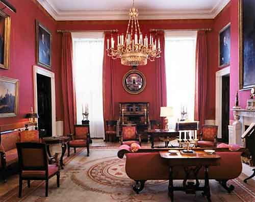 Iconic Red Room In The White House From The Kennedy Era