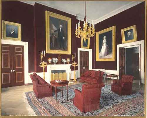 Iconic Red Room In The White House From Roosevelt's Presidency