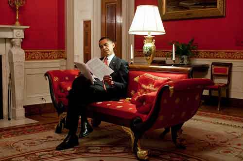 Iconic Red Room In The White House with President Obama