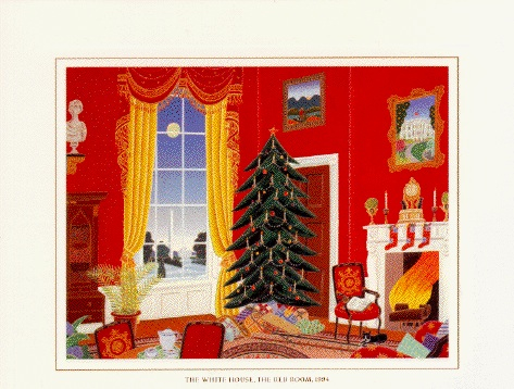 Iconic Red Room In The White House on Clinton's Holiday Card