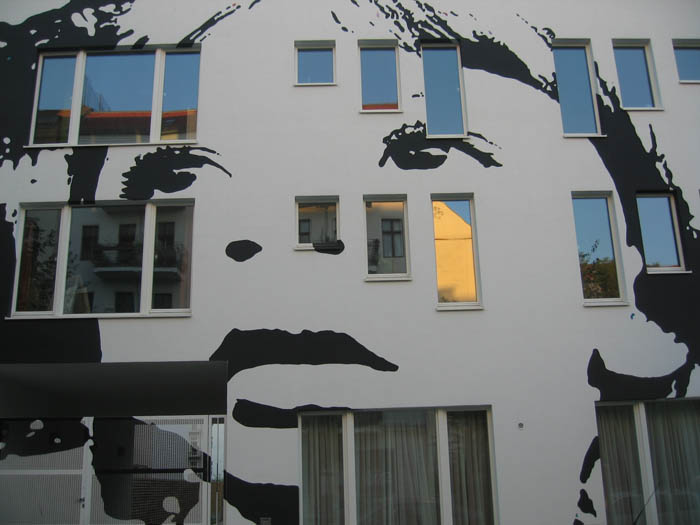city streets art face mural