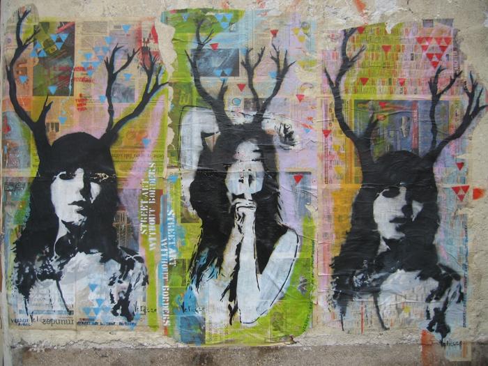 city streets art three woman mural
