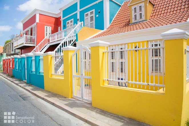 The bright Curacao colors of the dutch architecture in the city of Willemstad
