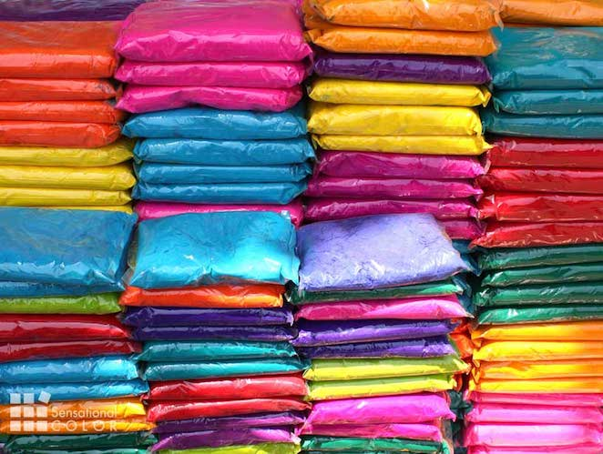 Plastic packets containing colorful powder for the traditional celebration of Holi Festival Of Colors