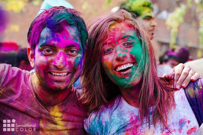 Before long everyone enjoying the Holi festival is covered in many colors