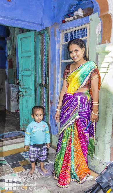 Indian Family Poses Proudly in the Blue City of Jodhpur, India