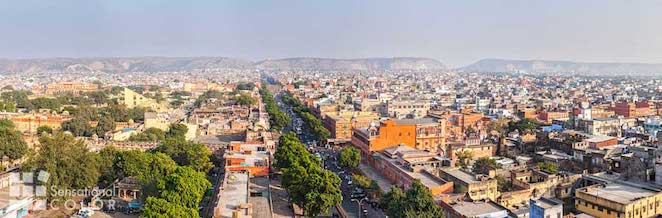 Panorama of aerial view of Jaipur The Pink City