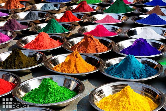 Symbolic colors of tika powders on Orcha market, India