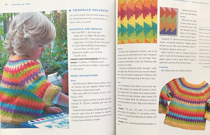 Dyeing to Knit page spread of a child's sweater pattern and pictures of the finished sweater
