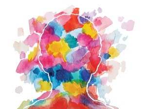 Color Psychology Illustrated by a Watercolor Outline of a Head Filled with Many Colors